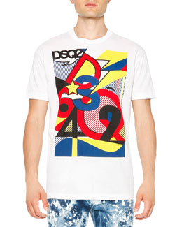 Pop Art-Inspired Graphic Tee, White