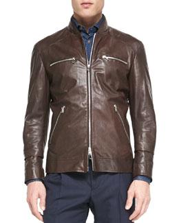 Leather Pilot Jacket, Dark Brown