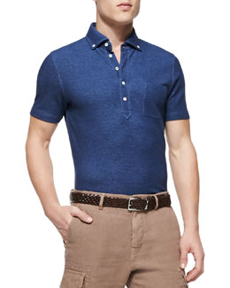 Button-Down-Collar Polo Shirt, Chambray