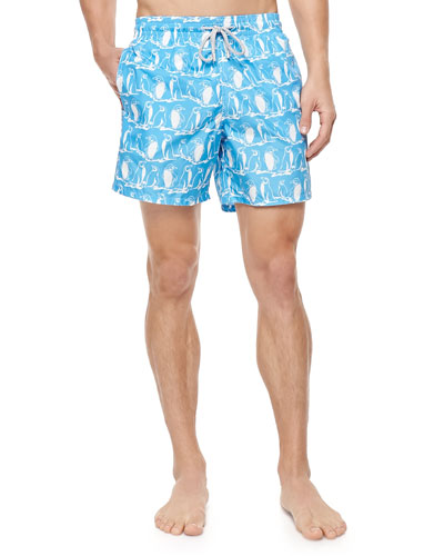 Mahina Penguin-Print Swim Trunks, Light Blue