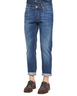 Slim-Fit Selvedge Denim Jeans, Blue