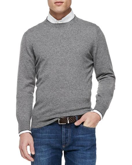 Brunello Cucinelli Cashmere Crewneck Pullover Sweater, Gray