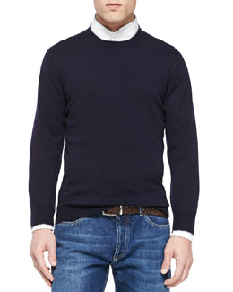 Cashmere Crewneck Pullover Sweater, Navy