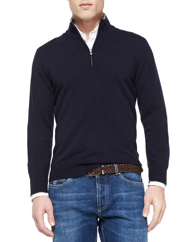 Brunello Cucinelli Cashmere Half Zip Sweater, Navy