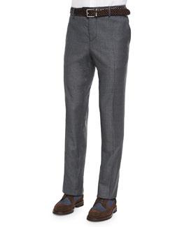 Flat-Front Wool Trousers, Dark Gray