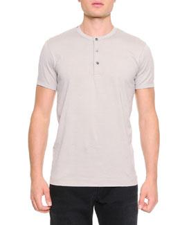 Short-Sleeve Henley T-Shirt, Light Gray