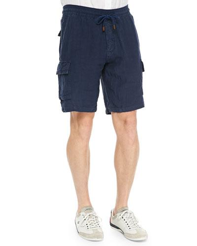 Baie Linen Cargo Shorts, Blue