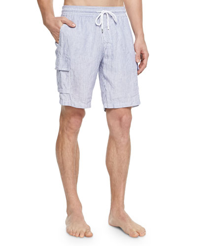 Striped Linen Cargo Shorts, Navy