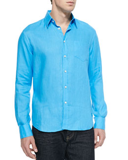Linen Long-Sleeve Shirt, Blue