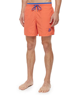 Moka Embroidered Turtle Swim Trunks, Red