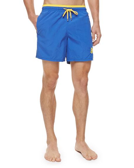 c533471b80 Vilebrequin Moka Embroidered Turtle Swim Trunks, Blue