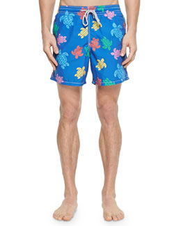 Moorea Turtle-Print Swim Trunks, Navy/Multi