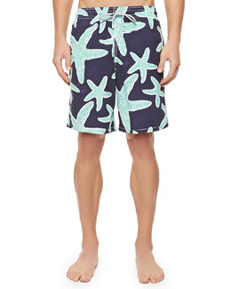 Okoa Starfish-Print Boardshorts, Blue