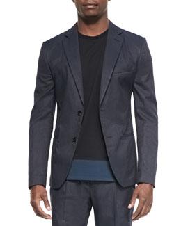 Cotton-Blend Two-Button Jacket, Blue