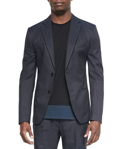 Cotton-Blend Two-Button Jacket, Blue