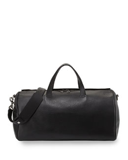 Small Leather Duffle Bag, Black