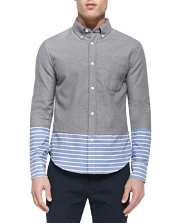 Striped-Bottom Button-Down Shirt, Gray Multi