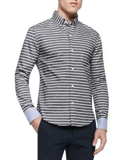 Horizontal-Stripe Button-Down Shirt, Black/White