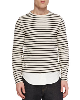 Breton-Striped/Oxford Crewneck Shirt