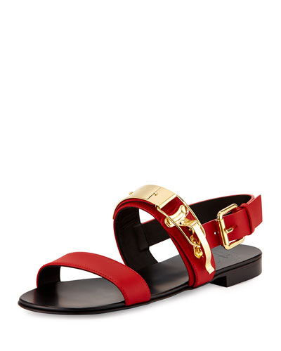 Men's Ski-Buckle Leather Strap Sandal