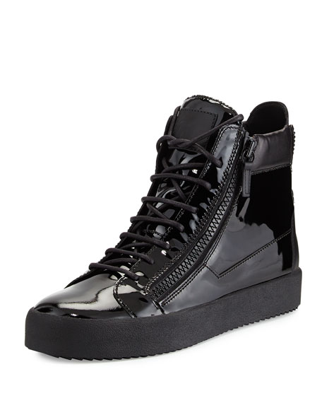 Giuseppe Zanotti Men's Patent Leather High-Top Sneaker, Black