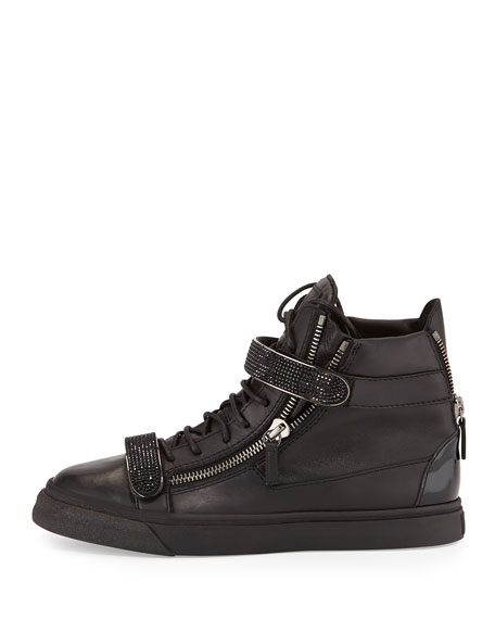 Men's Leather High-Top Sneaker, Black