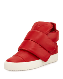 Two-Strap High-Top Sneaker, Red
