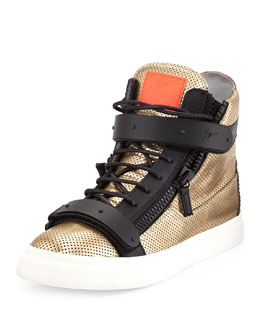 Men's Metallic Leather Mesh High-Top Sneaker, Gold
