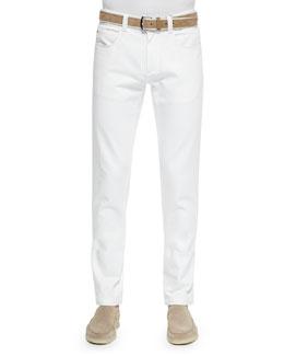 Five-Pocket Denim Jeans, White