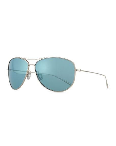 Kempner 65 Titanium Aviator Sunglasses, Aqua