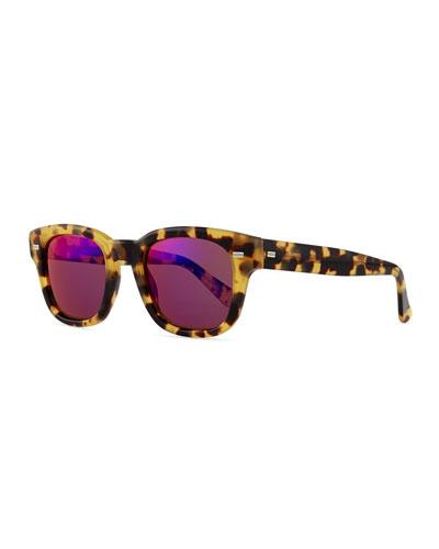 Plastic Frame Sport Sunglasses, Havana/Spotted