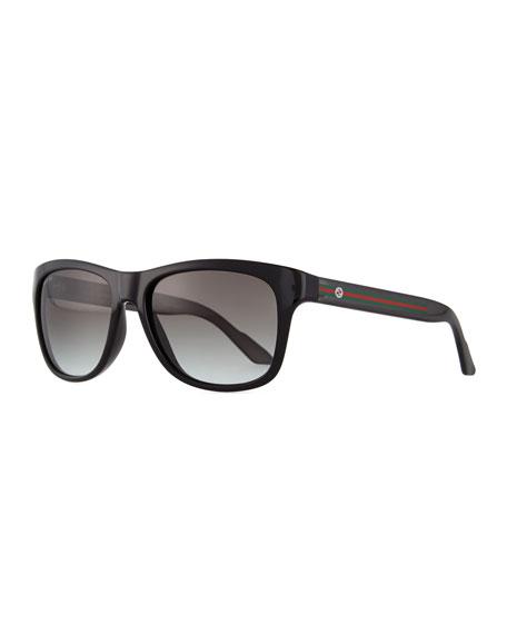 Plastic Square-Frame Sunglasses, Black