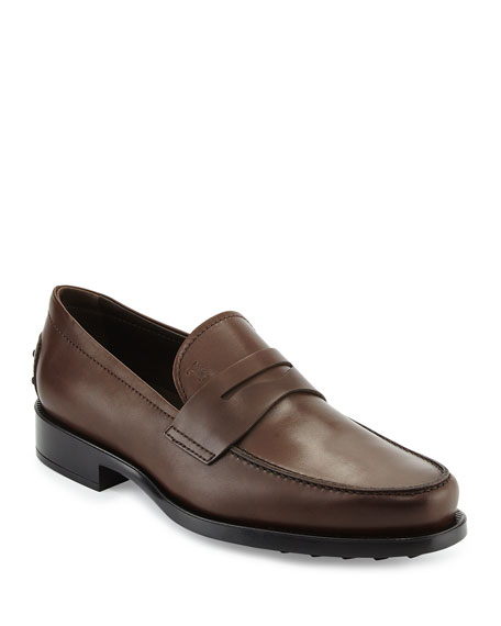 TOD'S LEATHER PENNY LOAFER, BROWN