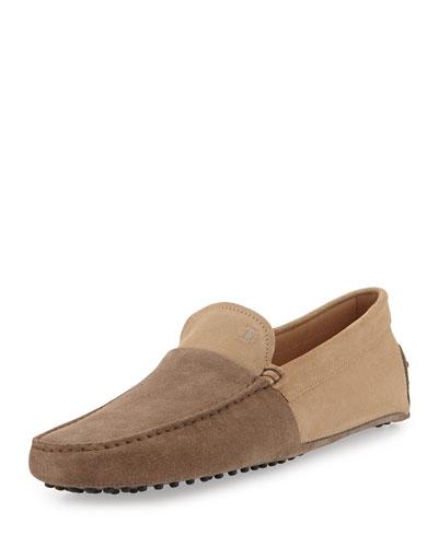 Suede Colorblock Driving Shoe, Gray/Tan