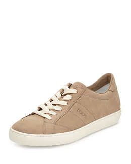 Leather Lace-Up Sneaker, Light Gray/Tan