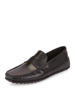 Leather Penny Driver Slip-On, Black