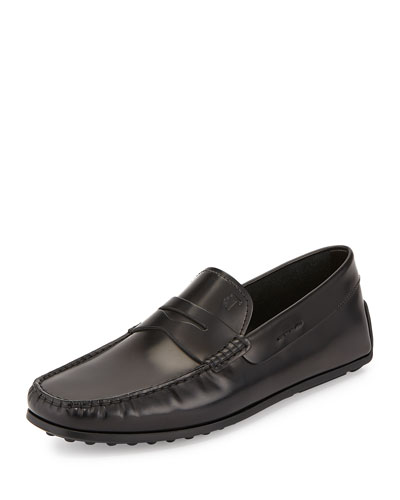 Leather Penny Driver Slip-On, Black