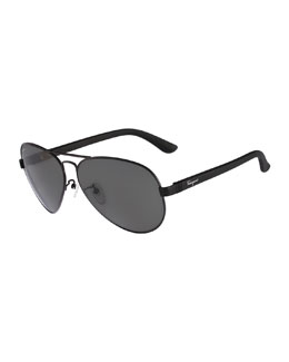 Gancio Aviator Sunglasses, Black