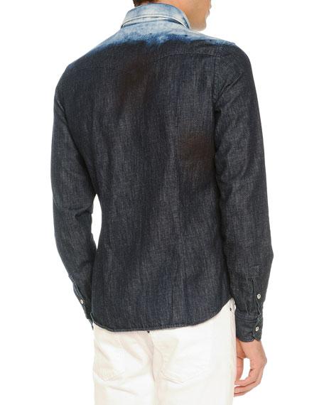 Bleached-Shoulder Denim Shirt, Navy