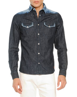 Bleached-Shoulder Denim Shirt, Navy