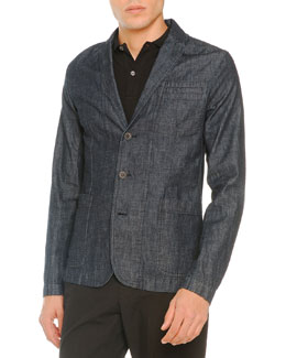 Denim 3-Button Blazer, Navy