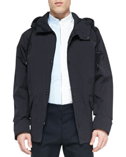 Hooded Short Anorak Jacket, Blue