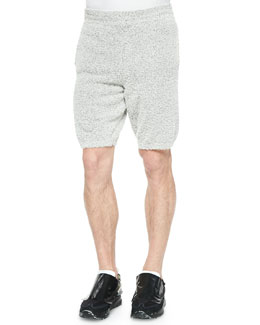 Cotton-Blend Fuzzy Shorts, Gray