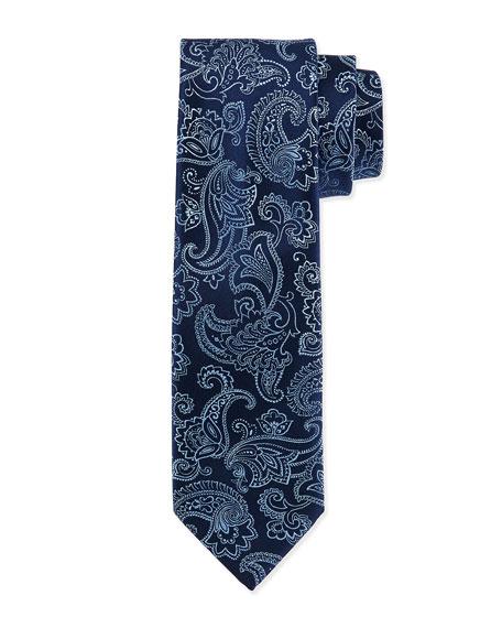 Floral-Paisley Silk Tie, Blue