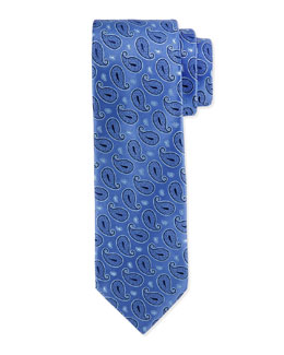 Paisley-Pattern Silk Tie, Blue