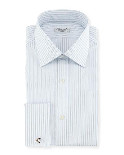 Shadow Striped French-Cuff Dress Shirt