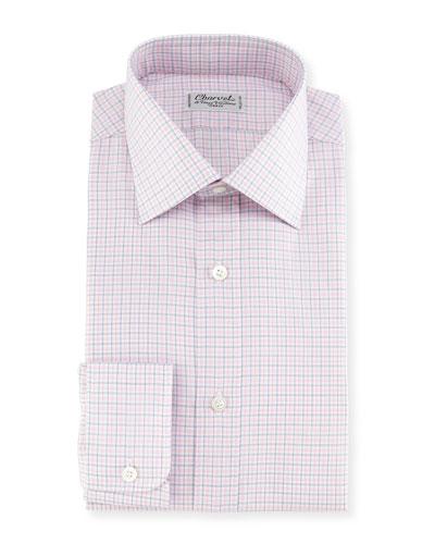 Plaid Twill Dress Shirt, Pink/Blue