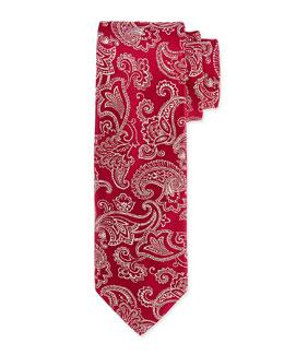 Floral-Paisley Silk Tie, Burgundy