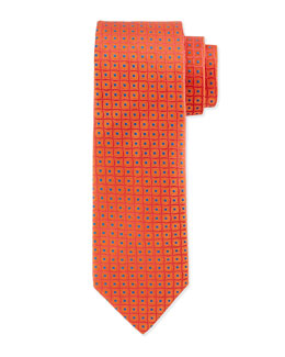 Double Helix Silk Tie, Orange/Blue