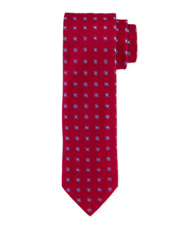 Square Polka-Dot Silk Tie, Burgundy/Blue